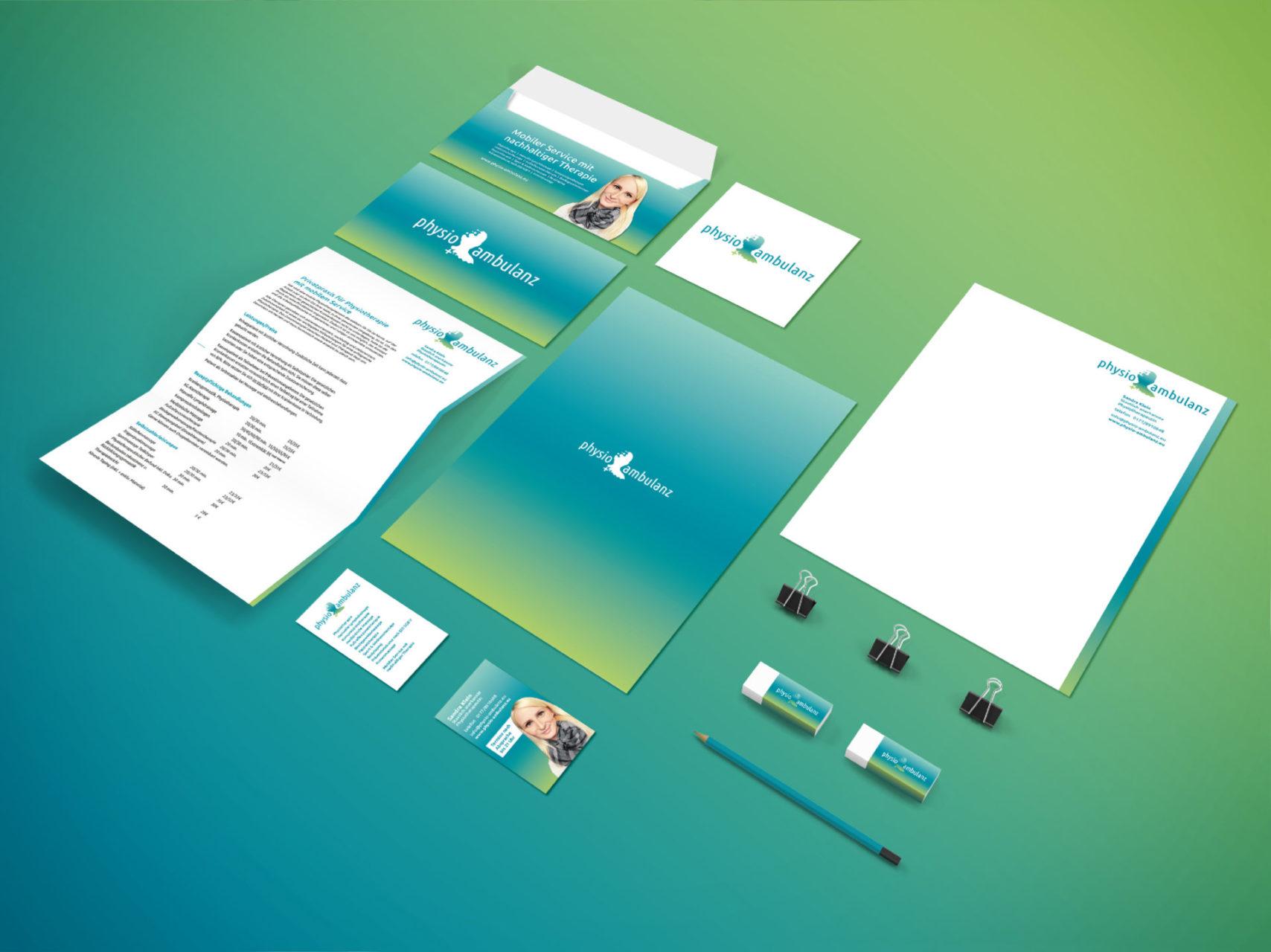 Physio Ambulanz Referenz 3 Print Druck Visitenkarte Cd Umschlag Briefpapier Birefumschlag Werbeartikel