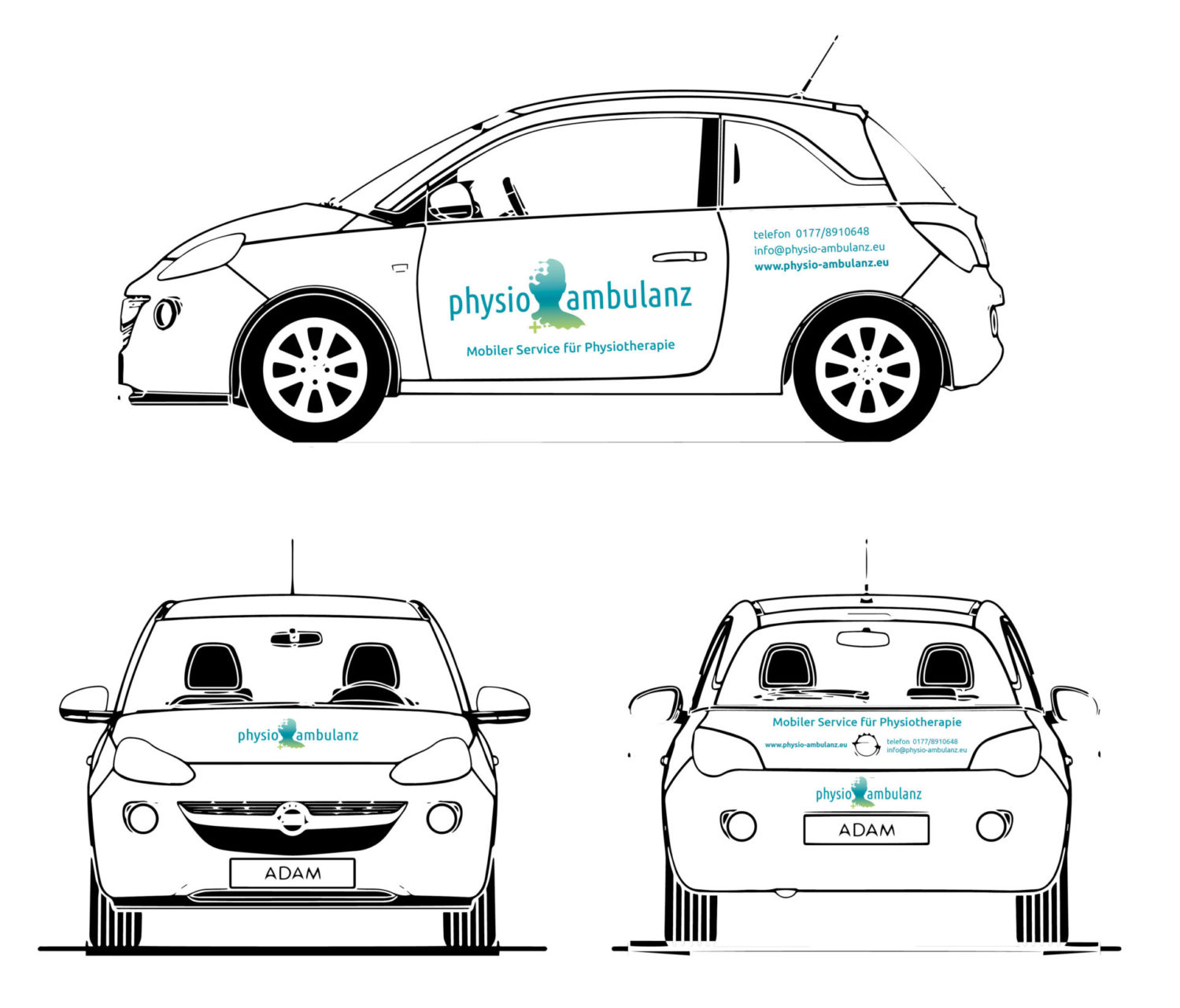 Physio Ambulanz Referenz 5 Prunt Druck Autobeschriftung Auto Druck Klebefolie