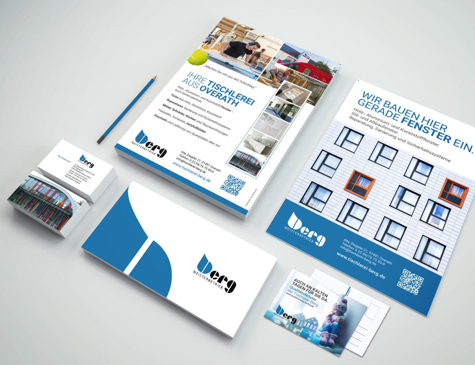 Tischlerei Berg Referenz 5 Druck Print Visitenkarten Briefpapier Briefumschlag Postkarte Flyer