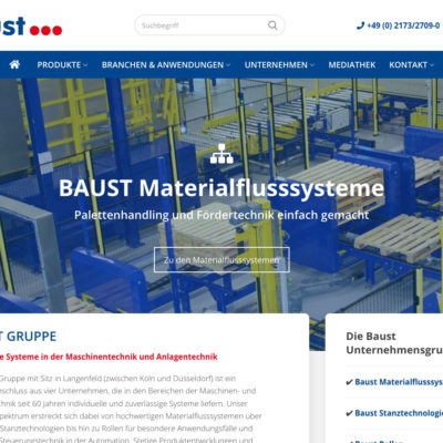 Baust Gruppe Group Materialflusssysteme Stanztechnologie Rollen Automation Webdesign Relaunch WordPress Agentur