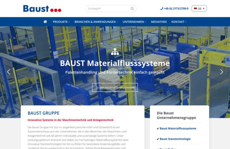 Baust Gruppe Group Materialflusssysteme Stanztechnologie Rollen Automation Webdesign Relaunch WordPress Agentur