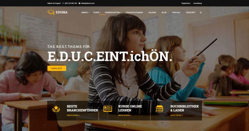 Eduma WordPress Theme Elearning Online Kurse Lernplattform Webinare