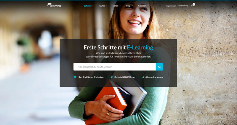 Epsilon WordPress Theme Elearning Education Webinare Online Kurse Lernen Online