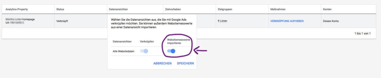 Google Ads Websitemesswerte Importieren