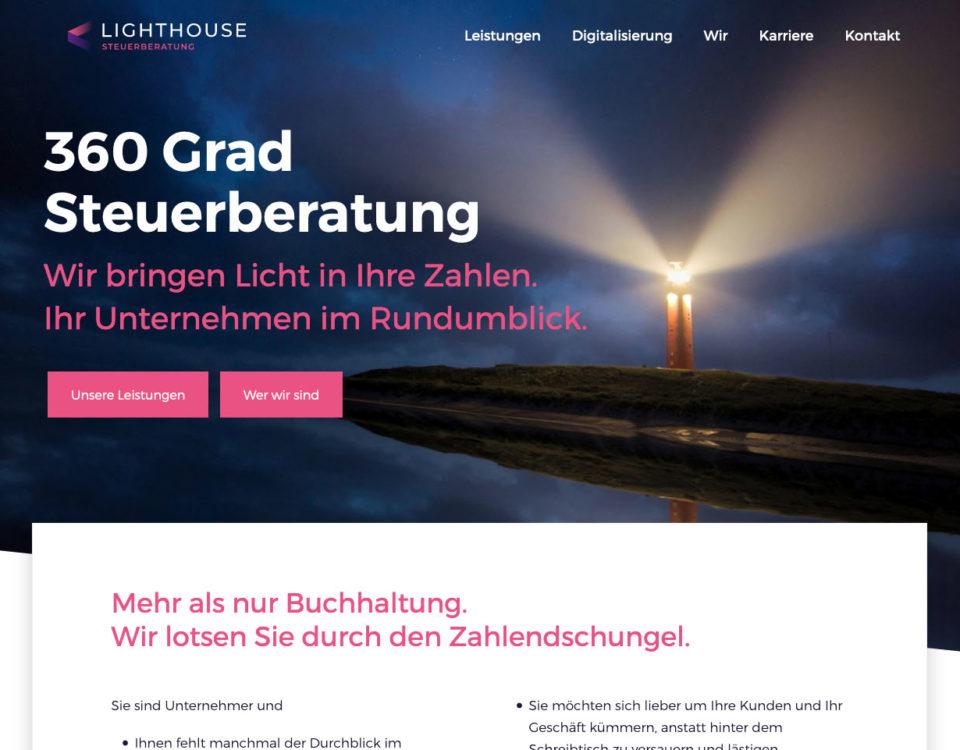 Markenentwicklung Branding Lighthouse Steuerberatung Steuerkanzlei Werbung Marketing Webdesign Internetseite