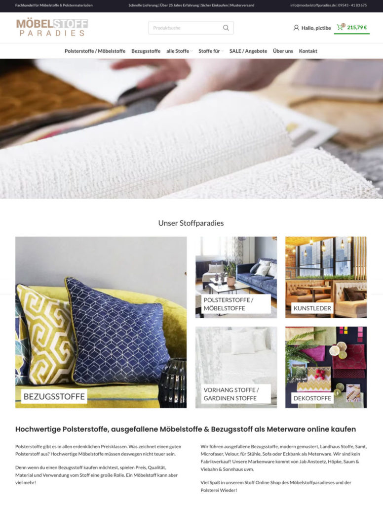 Moebelstoffparadies Woocommerce Shop Entwicklung WordPress Ecommerce