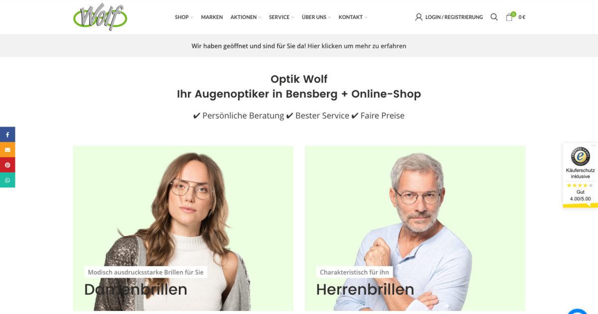 Optik Wolf Bensberg Wordpress Woocommerce Optiker Webseite Online Shop Brillenanprobe
