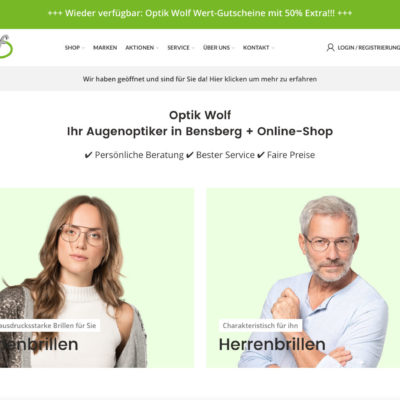Optik Wolf Bensberg WordPress Woocommerce Optiker Webseite Online Shop Brillenanprobe