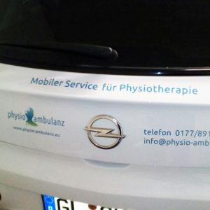 Physio Ambulanz Fahrzeugbeschriftung