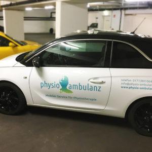Physiotherapie Autobeklebung Fahrzeugbeschriftung