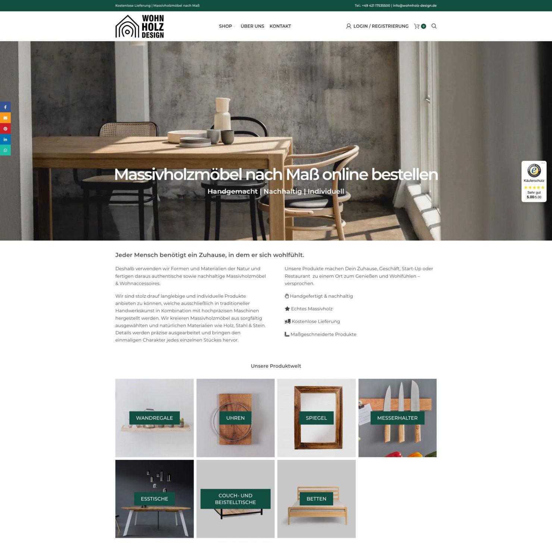 Wohnholzdesign Massivholz Moebel Wordpress Woocommerce Shop Webdesign Ecommerce Seo Sea Wp Woo