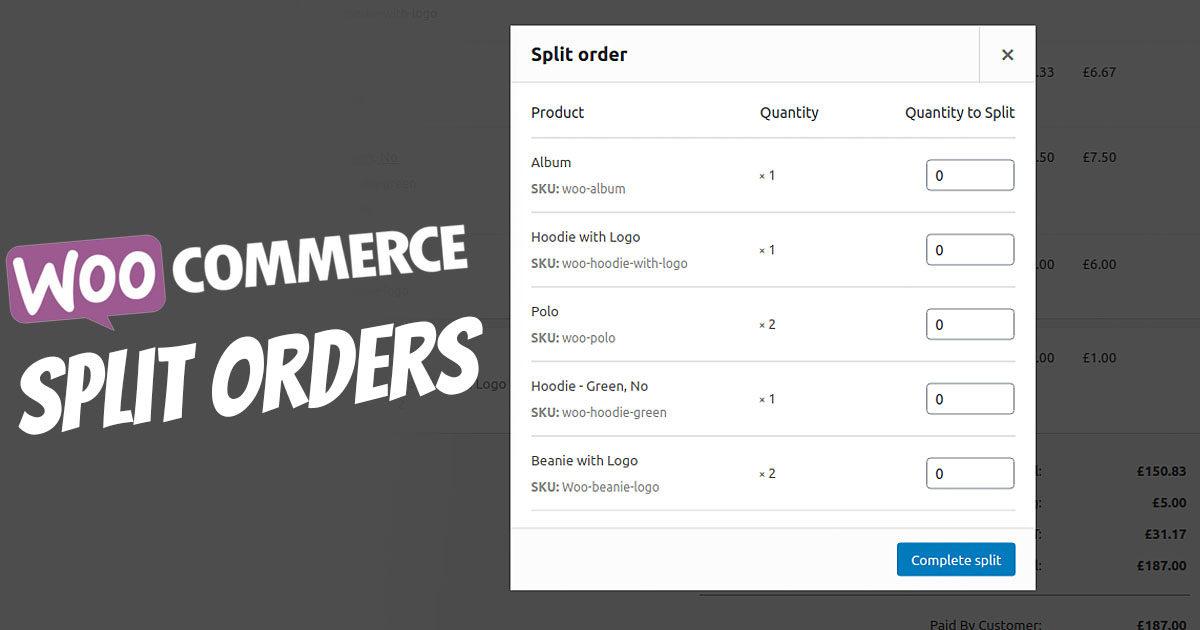 Woocommerce Split Orders Bestellung Aufteilen Auftragsliste Geteilt Abarbeiten