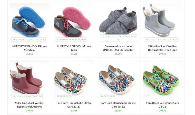 Woocommerce Verfuegbare Groessen Produktuebersicht Anzeigen Varianten Anpassen Schuhe Barfusschuhe