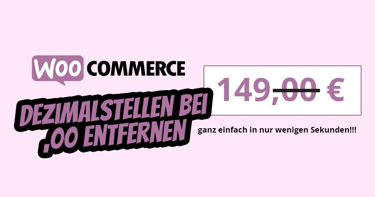 Wordpress Woocommerce Dezimalstellen Entfernen Nachkommastellen 00