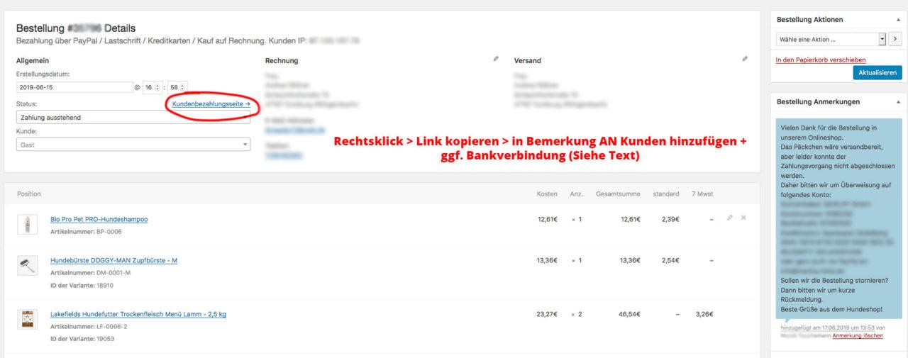 Wordpress Woocommere Paypal Plus Hilfe Kundenbezahlungsseite Bezahlseite Senden Zahlung Abbruch Wartend